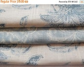 CLEARANCE - 3 pieces pale blue woven fabrics, 10 x 10 inches