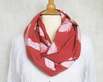Raspberry Red Infinity Scarf - Feather Print - 100% Organic Cotton