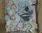 Shabby chic bathroom decor with handmade fabric flowers and vintage buttons