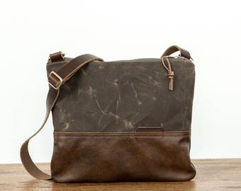 Waxed Canvas and Leather Crossbody Bag Bark Brown / Handmade Leather and Canvas Purse / Cross Body Bag with Strap