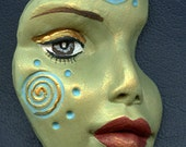 Polymer Clay  Green textured Abstract Face Shard  GFS 1