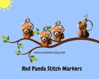 Kawaii Stitch Markers, Red Panda, Polymer Clay, sleuth of 4, Miniature, Sculpted Animal Knit, Crochet, Accessories