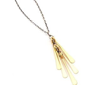 Petite Gold Fringe Necklace- sterling silver, gold fill.