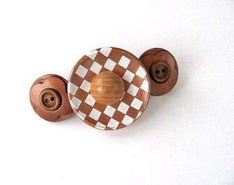 Check Wood Button Barrette FREE  US Shipping