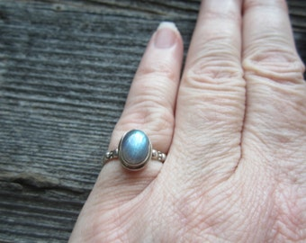 Labradorite Sterling Silver Ring.  Size 6.  Oval Labradorite Silver Ring.