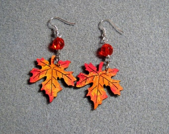 Autumn Leaves Maple Oak Handmade Wooden Dangle Earrings Hypoallergenic 6E