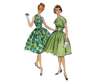 50s Midriff Band Dress pattern Fit and Flare Dress pattern vintage 34-26-36 Halter Dress Pattern Cocktail Dress mccalls 4996