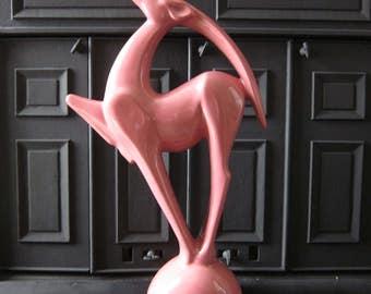 Vintage Royal Haeger Gazelle Statue Art Pottery Pink Glazed 1992 21 Inch Tall Mid Century Art Deco Style Antelope 90's