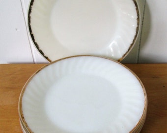 5 vintage Fire King milk glass swirl gold plates