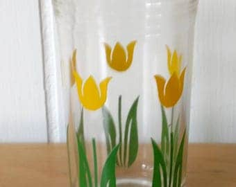 vintage tulip swanky swig glass yellow