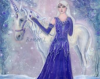 Whisper unicorn with winterflower elf girl  print fantasy art  by Renee L. Lavoie
