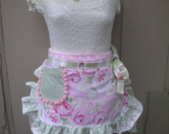 Womens Aprons - Aprons with Pink Roses - Handmade Aprons - Pink Roses Apron - Shabby Chic Apron - Annies Attic Aprons - Handmade Aprons