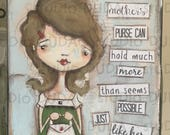 Original Folk Mixed Media Whimsical Mothers DAy Painting - Moms Purse - Free U.S. Shipping