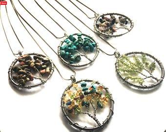 Turquoise Magnesite - Peridot - Tree Gemstone Pendant Necklace - Wisdom - Tree of Life -  gift for mom - gift under 30