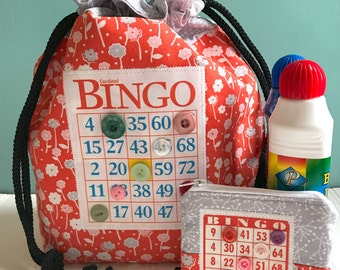 Bingo Bag and Change Purse Set - Multi Function Drawstring Bag - Fabric Bingo Tote Bag with Matching Small Zippered Coin Purse