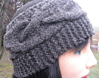 Charcoal Gray Headband for Men or Women, Alpaca and Wool Headband, Knit Ear Warmer,  Winter Headband, Gift for Women