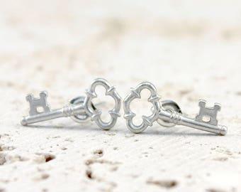 Skeleton Key Earrings, Post, Studs, Sterling Silver,92.5, Nickel Free