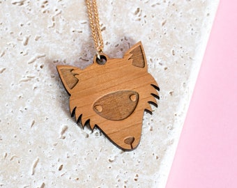 Fox necklace - fox jewellery - fox gift - gift for fox lover - fox face necklace - fox head necklace - fox jewelry - wood fox jewellery