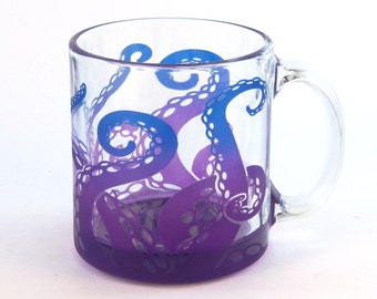 Octopus Coffee Mug - Etched Glassware - Cthulhu - Squid - Kraken - Cephalopod - Tentacles Coffee Mug - Custom Painted - Made to Order