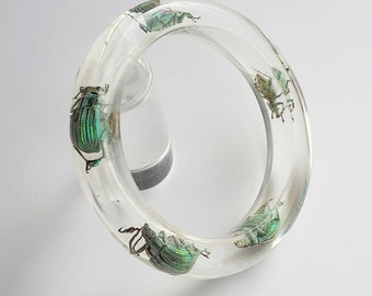 Clear lucite bracelet with real exotic insects