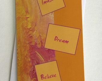 Imagine Dream Believe Blank Motivational Inspirational Greeting Card