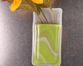 Gray green swirls Pocket vase,  magnetic fused glass vase, small glass vase, magnet