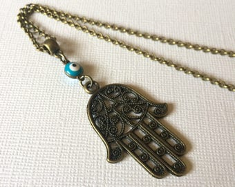 Hamsa and Evil Eye Necklace Rolo Chain - Talisman Jewelry
