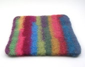 Wool felted trivet - striped hot pad - multicolored