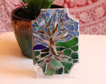 Blue Sky Tree Stained Glass Mosaic