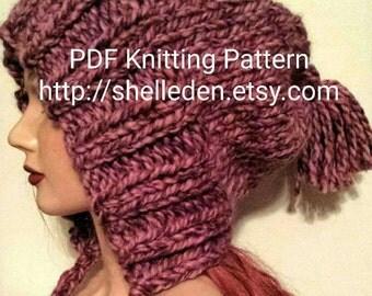 PDF Knitting Pattern for Split brim Slouchy Earwarmer Hat