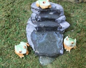 Water fall slate rocks with frogs:  fairy garden terrariums