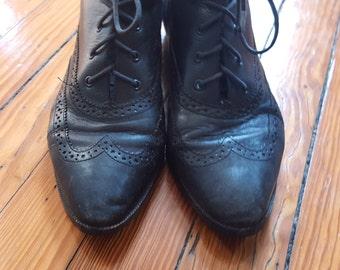 Vintage Black Wingtip Boots - Larger Size - 9 1/2