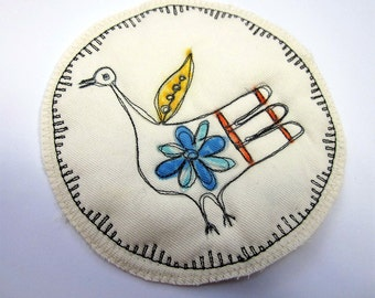 Quilted Fabric Patch - Primitive Bird