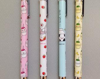 strawberry milk mechanical pencils ++ kawaii ++ korean stationary ++ limited edition ++ set of 4 ++ bananas and yogurt