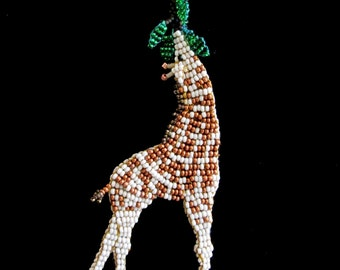 April the Giraffe Bead Woven Brooch or Pendant Custom Made