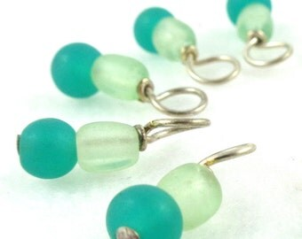 Fresh Mint Droplet Stitch Markers for Knitting or Crochet (Choose Your Size - Set of 10)