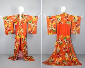 antique kimono / hikizuri / silk robe / ORANGE BLOSSOM vintage silk kimono