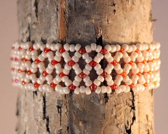 Netted Lace Bracelet, Beadwork Jewelry, Seed Bead Bracelet, Beaded Jewellery, coral orange and white, Bead Lace Bangle, Netherlands, holland
