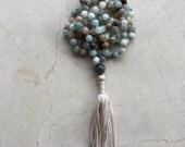 Amazonite Mala, Knotted Mala, Mala Beads, Labradorite, Tassel Necklace, Yoga, Meditation