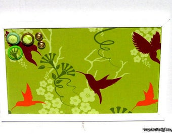 Lime Hummingbird on White Framed Corkboard, Cork Bulletin Board,17x11 Tack Board, Cork Pin Board, Cork Message Board Cork Organizer Board