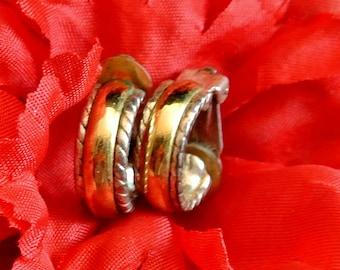 Hoop Earrings, Vintage Gold Silver Hoop Clip On Earrings, Christmas Gift, Gift For Her