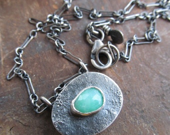 Short Silver Necklace Petite Hollow Form Pendant Sterling Silver Charm Necklace Green Chrysoprase Pendant Rustic Silver Jewelry Boho Jewelry