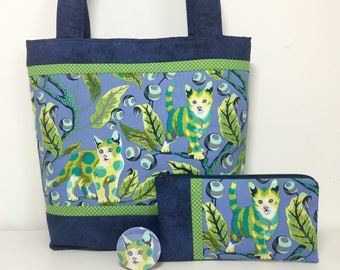 Tabby Road Tote Bag, Blue and Green Medium Tote with Pockets, Cat Fabric Purse