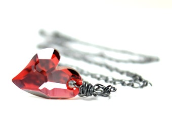 Choose Color Heart Necklace Swarovski Crystal AB Wild Bright Red Magma Black Oxidized Sterling Silver Valentine Love Sparkle Amethyst Lovers