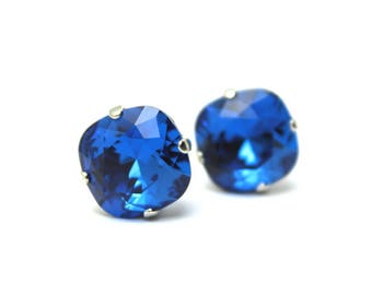 Capri Blue Crystal Stud Earrings Classic Sparkling Deep Cbalt Bright Sky Cornflower Solitaire Swarovski 12mm Sterling Silver Post Copper