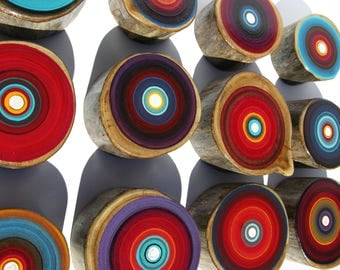 Modern  Deep Red And Purple Artwork on Reclaimed Wood Art Tree Rings By Tracy Melton