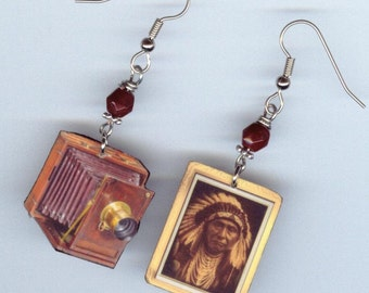 Vintage Bellows Camera Earrings  - Daguerreotype orotone Edward Curtis Indians Chief Joseph - photography photographer's gift