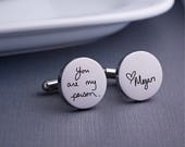 Personalized Cuff Links, Handwriting CuffLinks, Christmas Gift for Dad, Custom Cuff Links for Him