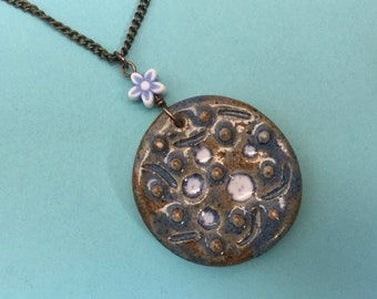 Abstract Galaxy with Vintage Flower Bead - Handmade Ceramic and Natural Brass Necklace - Hand Sculpted Pendant - Original Wearable Art