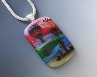 Albuquerque New Mexico Hot Air Balloons, Southwest Dichroic Glass Pendant, Landscape Pendant, Scenic Glass Pendant, Fused Glass Jewelry